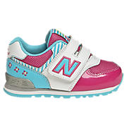 New Balance 574, White with Pink & Blue