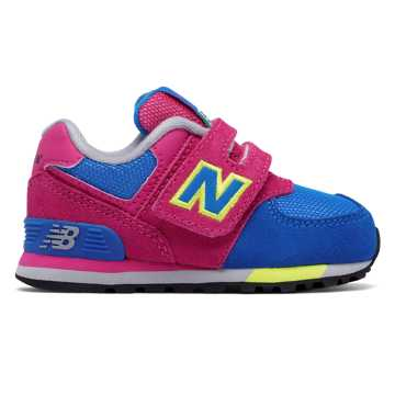 New Balance 574 Cut and Paste Hook and Loop, Pink Zing with Baltic