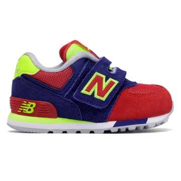 New Balance 574 Cut and Paste Hook and Loop, Basin with Red