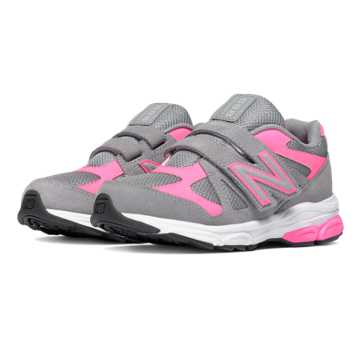 New Balance Hook and Loop 888, Grey with Fluorescent Pink