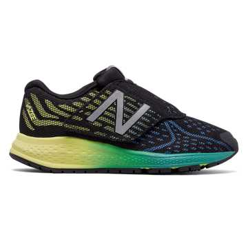 New Balance Hook and Loop Vazee Rush v2, Black with Yellow & Cadet Blue