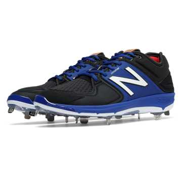 New Balance Low-Cut 3000v3 Metal Cleat, Black with Blue