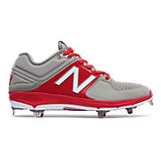 Low-Cut 3000v3 Metal Cleat, Grey with Red