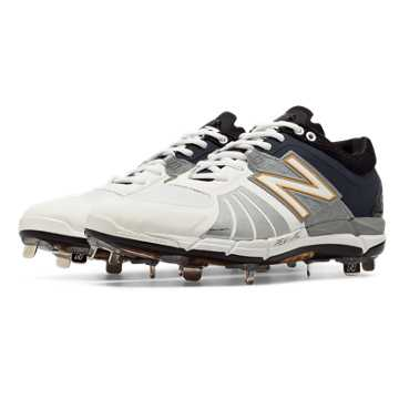 New Balance Playoff Pack Low-Cut 3000v2 Metal Cleat, White with Black & Metallic Silver