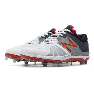 New Balance Playoff Pack Low-Cut 3000v2 Metal Cleat, White with Metallic Silver & Team Red