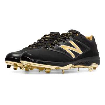 New Balance Low-Cut Bold and Gold Hero 4040v3 Metal Cleat, Black with Gold
