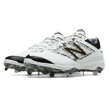 Pedroia Low-Cut 4040v3 Metal Cleat, White with Grey & Light Grey