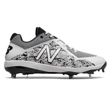 Pedroia Low-Cut 4040v4 Metal Cleat, White with Grey & Light Grey