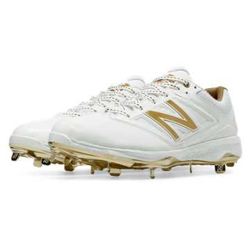 New Balance Low-Cut Bold and Gold Hero 4040v3 Metal Cleat, White with Gold