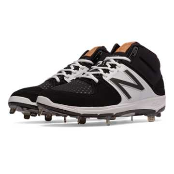 New Balance Mid-Cut 3000v3 Metal Cleat, Black with White