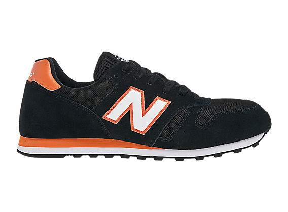 New Balance 373, Black with Orange & White