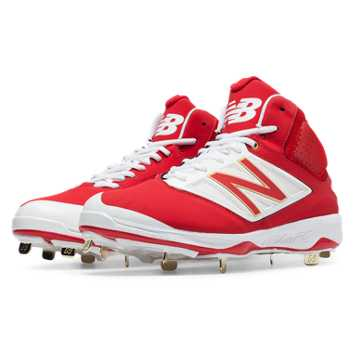 New Balance Mid-Cut 4040v3 Metal Cleat, Red with White