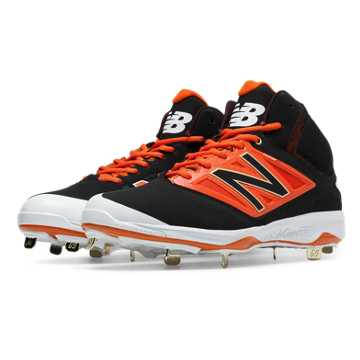 New Balance Mid-Cut 4040v3 Metal Cleat, Black with Orange