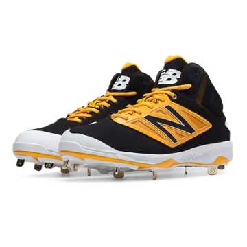 New Balance Mid-Cut 4040v3 Metal Cleat, Black with Yellow