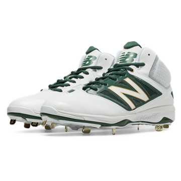 New Balance Mid-Cut 4040v3 Metal Cleat, White with Green