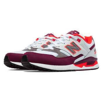 New Balance 530 90s Running Remix, White with Burgundy & Orange