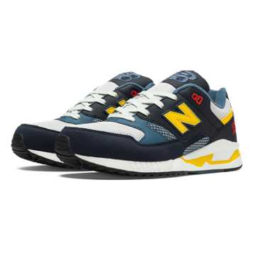 New Balance 530 90s Running, Ink Blue with Blue Infinity & Yellow