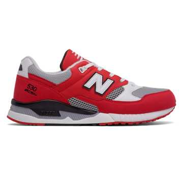 New Balance 530 Leather Textile, Red with Grey & White