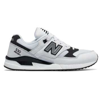 New Balance 530 Leather, White with Black