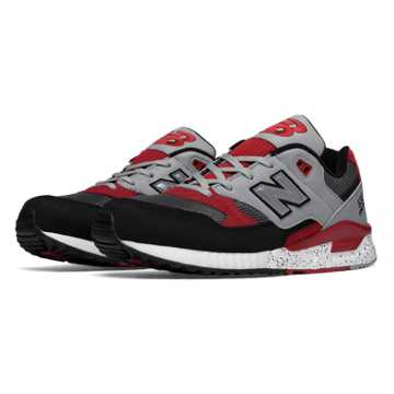 New Balance 530 90s Running Leather, Black with Red & Grey