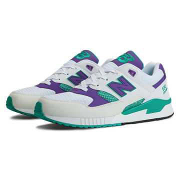 New Balance 530 90s Running, White with Purple & Teal
