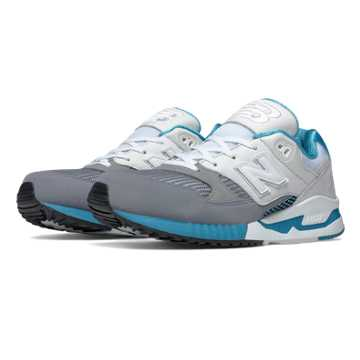 New Balance 530 Bionic Boom, White with Steel & Blue Atoll