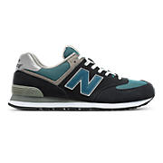 New Balance 574, Navy with Teal & Grey