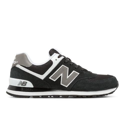 574 New Balance Men's 574 Shoes - Black, Grey, White (M574SKW)
