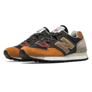 New Balance 575 Made in UK Surplus, Green with Navy & Burnt Orange