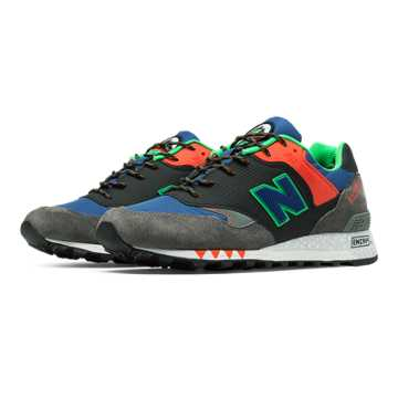 New Balance 577 Made in UK Napes, Dark Grey with Black & Red