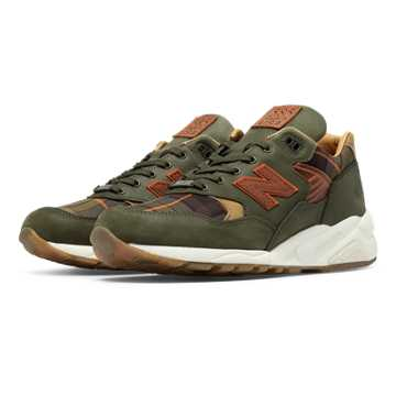 New Balance 585 Ball and Buck, Olive Green with Yellow & Spice
