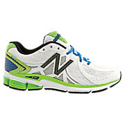 New Balance 780v2, White with Lime Green & Blue