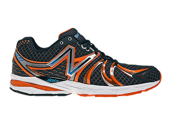 New Balance 870v2, Black with Orange & Blue