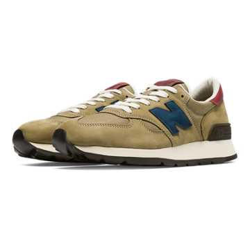 New Balance 990 Distinct Mid-Century Modern, Tan with Navy & Burgundy