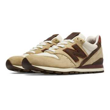 New Balance 996 Distinct Mid-Century Modern, Khaki with Brown & Burgundy