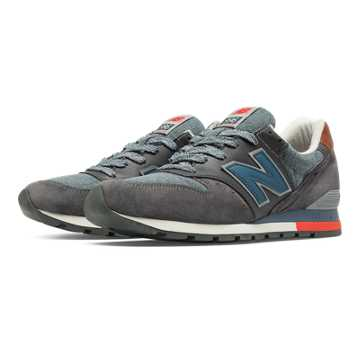 New Balance 996 Distinct Retro Ski, Grey with Chambray & Red