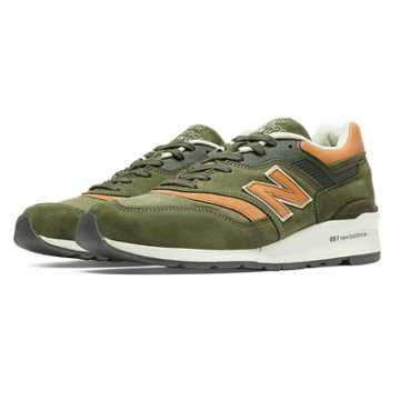New Balance 997 Distinct USA, Buffed Olive with Coral
