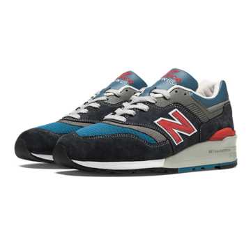 New Balance 997 Connoisseur, Flint Grey with Blue & Red