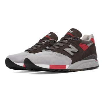 New Balance 998 Age of Exploration, Grey with Red