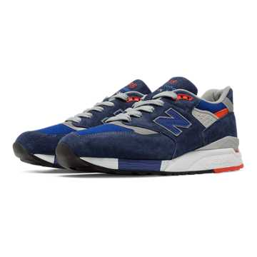 New Balance 998 Heritage, Navy with Silver & Orange