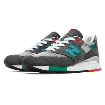 New Balance 998 Connoisseur Retro Ski, Grey with Teal & Red