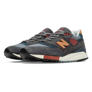 New Balance 998 Distinct Mid-Century Modern, Dark Grey with Tan & Burgundy