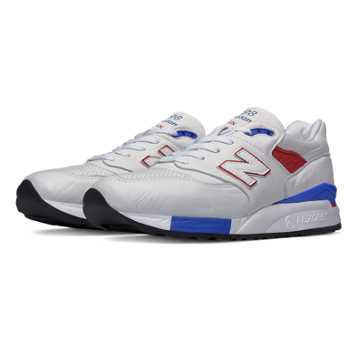 New Balance 998 Explore by Air, White with Blue & Red