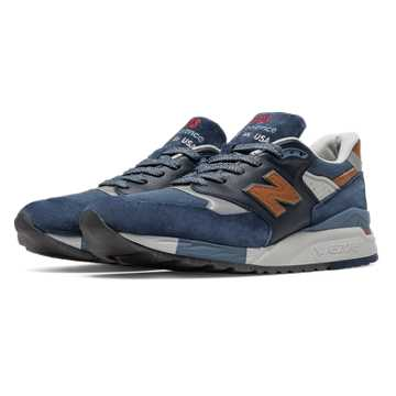 New Balance 998 Distinct Retro Ski, Blue Aster with Navy & Carmel