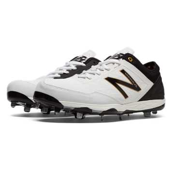 New Balance Low-Cut Minimus Metal Cleat, White with Black