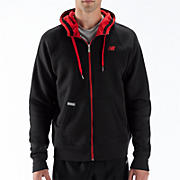 Essential Full Zip Hoodie, Black with Red