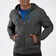 Essentials Zip Up Hoodie, Heather Charc with Vision Blue