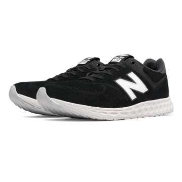 New Balance 574 Fresh Foam Suede, Black with White