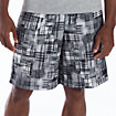 "10"" Printed Plaid Short, Black with Grey"