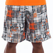 "10"" Printed Plaid Short, Orange Flash"